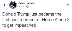 Donald Trump: Brian James  9 hrs · O  Donald Trump just became the  first cast member of Home Alone 2  to get Impeached