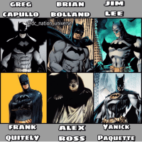 Memes, Superman, and Batman Superman: BRIAN JIM  GREG  CAPULLO BOLL AND LEE  adc nation universe  FRANK ALEX  YANICK  QuITELY Ross PAQUETTE Who's your favorite BATMAN artist? dc dccomics dceu dcu dcrebirth dcnation dcextendeduniverse batman superman manofsteel thedarkknight wonderwoman justiceleague cyborg aquaman martianmanhunter greenlantern theflash greenarrow suicidesquad thejoker harleyquinn comics injusticegodsamongus