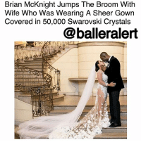Beautiful, Instagram, and Memes: Brian McKnight Jumps The Broom With  Wife Who Was Wearing A Sheer Gown  Covered in 50,000 Swarovski Crystals  @balleralert Brian McKnight Jumps The Broom With Wife Who Was Wearing A Sheer Gown Covered in 50,000 Swarovski Crystals – blogged by @MsJennyb ⠀⠀⠀⠀⠀⠀⠀ ⠀⠀⠀⠀⠀⠀⠀ As the rest of the world stepped into the new year with their loved ones, BrianMcKnight jumped the broom with his new wife, Leilani Malia Mendoza in a New Year's Eve ceremony at Oheka Castle. ⠀⠀⠀⠀⠀⠀⠀ ⠀⠀⠀⠀⠀⠀⠀ The couple wed at the Otto Kahn Estate on the North Shore of Long Island, in the West Hills section of Huntington, NY. McKnight's beautiful bride wore a sheer, long-sleeved gown by Sabrina & Manning, which took more than a month to stitch together. ⠀⠀⠀⠀⠀⠀⠀ ⠀⠀⠀⠀⠀⠀⠀ The sheer gown was covered in 50,000 Swarovski crystals, which were placed by hand with hand cut out fabric, which was folded to create a vanishing out effect, the designer wrote on Instagram. ⠀⠀⠀⠀⠀⠀⠀ ⠀⠀⠀⠀⠀⠀⠀ The new bride also sported a floor-length veil that trailed behind with the sheer train. ⠀⠀⠀⠀⠀⠀⠀ ⠀⠀⠀⠀⠀⠀⠀ ⠀⠀⠀⠀⠀⠀⠀ Congratulations to the Bride and Groom!