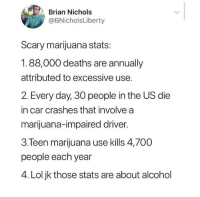Lol, Alcohol, and Fuck: Brian Nichols  @BNicholsLiberty  Scary marijuana stats:  1.88,000 deaths are annually  attributed to excessive use.  2. Every day, 30 people in the US die  in car crashes that involve a  marijuana-impaired driver  3.Teen marijuana use kills 4,700o  people each year  4. Lol jk those stats are about alcohol If you're a stoner you need to fuck with @toptree