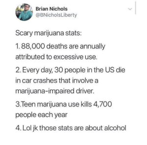 Scary stats: Brian Nichols  @BNicholsLiberty  Scary marijuana stats:  1.88,000 deaths are annually  attributed to excessive use.  2. Every day, 30 people in the US die  in car crashes that involve a  marijuana-impaired driver.  3.Teen marijuana use kills 4,700  people each year  4. Lol jk those stats are about alcohol Scary stats