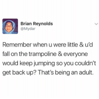 Being an Adult, Fall, and Funny: Brian Reynolds  @Mydar  Remember when u were little & u'd  fall on the trampoline & everyone  would keep jumping so you couldn't  get back up? That's being an adult. Precisely