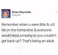 Af, Being an Adult, and Fall: Brian Reynolds  @Mydar  Remember when u were little & u'd  fall on the trampoline & everyone  would keep jumping so you couldn't  get back up? That's being an adult. 😂Deep AF