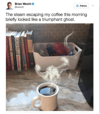 Spooky: Brian Wecht  Follow  @bwecht  The steam escaping my coffee this morning  briefly looked like a triumphant ghost. Spooky