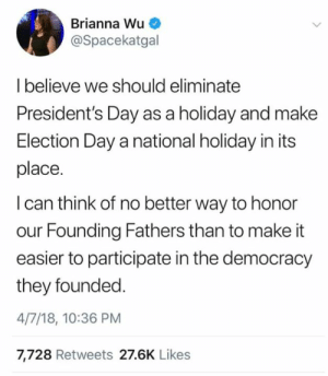 RepresentUs: Brianna Wu  @Spacekatgal  Ibelieve we should eliminate  President's Day as a holiday and make  Election Day a national holiday in its  place.  I can think of no better way to honor  our Founding Fathers than to make it  easier to participate in the democracy  they founded  4/7/18, 10:36 PM  7,728 Retweets 27.6K Likes RepresentUs