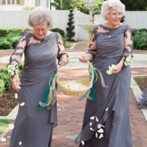 Bride and Groom ask their grandmothers to he flower girls.: Bride and Groom ask their grandmothers to he flower girls.