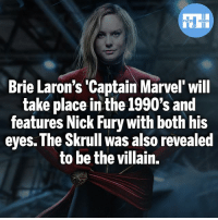 Batman, Memes, and Superman: Brie Laron's 'Captain Marvel' will  take place in the 1990's and  features Nick Fury with both his  eyes. The Skrull was also revealed  to be the villain. What are your expectations for Captain Marvel? Also Skrulls* - My other IG accounts @factsofflash @yourpoketrivia @webslingerfacts ⠀⠀⠀⠀⠀⠀⠀⠀⠀⠀⠀⠀⠀⠀⠀⠀⠀⠀⠀⠀⠀⠀⠀⠀⠀⠀⠀⠀⠀⠀⠀⠀⠀⠀⠀⠀ ⠀⠀--------------------- batmanvssuperman xmen batman superman wonderwoman deadpool spiderman hulk thor ironman marvel greenlantern theflash wolverine daredevil aquaman justiceleague homecoming flashpoint ezramiller wallywest redhood avengers jasontodd captainmarvel tomholland brielarson like4like injustice2