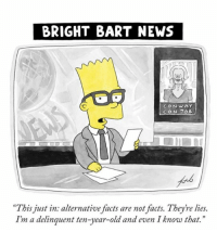 """Alternative Facts: BRIGHT BART NEWS  CONWAY  CON JOB  """"This just in. alternative facts are not facts. Theyre lies.  I'm a delinquent ten-year-old and even I know that."""""""