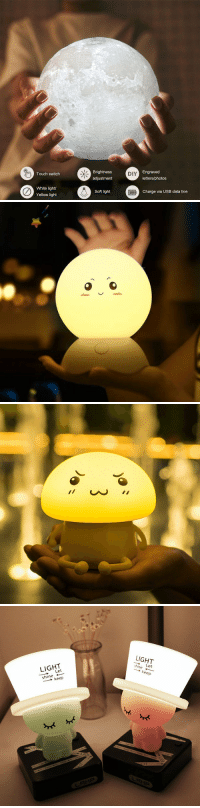Cute, Phone, and Tumblr: Brightness  adjustment  Engraved  letters/photos  Touch switch  DIY  White light  Yellow light  Soft light  Charge via USB data line   LIGHT  LIGHT  ー→ Let  shine ←  → keep  hine Let  → keep  LRM尸 winner001fan: There are  Cute and Popular Night Light Lamp for You! Moon Lamp 2 Color Change Lovely Cartoon  Night Light Cute Night Light Lamp Cute Hat Night Light 15% OFF New Discount Code : Crystal15 ✧Your first order can get  20% OFFon the Mobile Phone or PC APP !!
