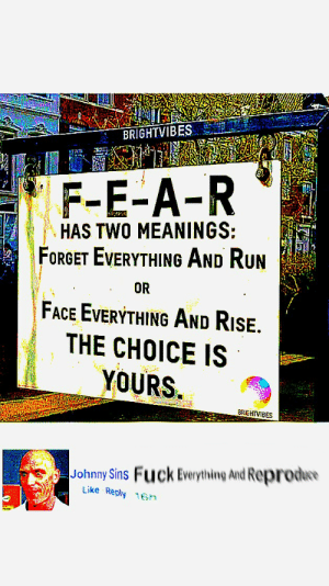 J🅾nny 🅱ℹns 🙅🍆🍆😥: BRIGHTVIBES  F-E-A-R  HAS TWO MEANINGS:  FORGET EVERYTHING AND RUn  FACE EVERYTHING AND RiSE.  THE CHOICE IS  YOURS  OR  BRGHTVIBES  Johnny Sins Fuck Everything And Reprode  Like Reply 16n J🅾nny 🅱ℹns 🙅🍆🍆😥