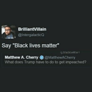"""Black Lives Matter, Black, and Trump: BrilliantVillain  @Intergalactico  Say """"Black lives matter""""  ig blacktwitter  Matthew A. Cherry@MatthewACherry  What does Trump have to do to get impeached? Can it be all so simple"""