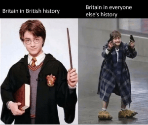 Sings the Mandalay song in a cockney accent *: Britain in everyone  Britain in British history  else's history Sings the Mandalay song in a cockney accent *