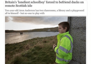 Dank, Memes, and Target: Britain's 'loneliest schoolboy' forced to befriend ducks on  remote Scottish isle  Ten-year-old Aron Anderson has two classrooms, a library and a playground  all to himself but no-one to play with meirl by TheWhaleyBunch MORE MEMES
