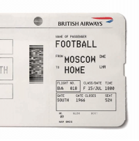 Football, Memes, and Date: BRITISH AIRWAYS  NAME OF PASSENGER  FOOTBALL  OSCOWDE  TO HOME LIR  FROM  FLIGHT NO, I CLASS/DATE TIME  BA 018 F 15/JUL 1800  GATE  SOUTH 1966  SEAT  52H  GATE CLOSES  HK.  GLDN  BOOT  09
