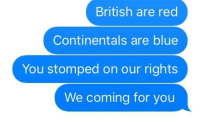 Thomas Jefferson, Blue, and Declaration of Independence: British are red  Continentals are blue  You stomped on our rights  We coming for you Thomas Jefferson writing the Declaration of Independence (June 1776)