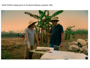 James May, History, and British: British POWs making plans for the Burma Railway colorized 1942 James May is that old