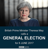 "18 APR: UK Prime Minister Theresa May has announced plans to call a snap general election on 8 June. She said Britain needed certainty, stability and strong leadership following the EU referendum. Explaining the decision, Mrs May said: ""The country is coming together but Westminster is not."" There will be a Commons vote on the proposed election on Wednesday - she will need Parliament's backing to hold a vote before 2020. Find out more: bbc.in-snap UK Britain Politics UKElection Election Brexit BBCNews @BBCNews: British Prime Minister Theresa May  calls a  GENERAL ELECTION  for 8 JUNE 2017  BBC NEWS 18 APR: UK Prime Minister Theresa May has announced plans to call a snap general election on 8 June. She said Britain needed certainty, stability and strong leadership following the EU referendum. Explaining the decision, Mrs May said: ""The country is coming together but Westminster is not."" There will be a Commons vote on the proposed election on Wednesday - she will need Parliament's backing to hold a vote before 2020. Find out more: bbc.in-snap UK Britain Politics UKElection Election Brexit BBCNews @BBCNews"
