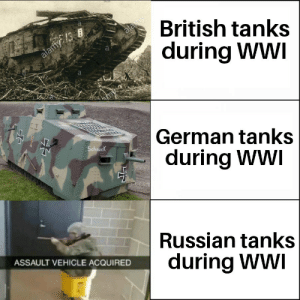 The Tsar tank is a great example of why vodka and design dont go well together: British tanks  during WWI  Is  German tanks  during WWI  Schnuc  Russian tanks  during Ww  ASSAULT VEHICLE ACQUIRED The Tsar tank is a great example of why vodka and design dont go well together