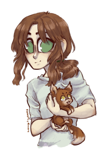 Fucking, Life, and Target: brittanyillustrates:  i gave liet a pupper because liet fucking deserves to be happy.(i hade his hair too long oops, well whatever life is too short for canon hair length)i have no clue what sort of wolf…fox…dog….creature…that is.jUSt lET mY BABy bE hAPPy daMmItT
