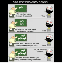Twitter: BLB247 Snapchat : BELIKEBRO.COM belikebro sarcasm meme Follow @be.like.bro: BRO AT ELEMENTARY SCHOOL  Tell me, how many  donkeys do you see?  Two  No. Now tell me, how many  donkeys do you see?  Three  ohho. noo. Ok now tell me how  many donkeys do you see?  Four  Sir, i'm counting  you also.  Damn it. How the hell are you  seeing an extra donkey everytime? Twitter: BLB247 Snapchat : BELIKEBRO.COM belikebro sarcasm meme Follow @be.like.bro
