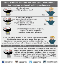 "Be Like, Meme, and Memes: Bro failed in law exam and decided  to make a deal with professor  sir, do u know  everything about law?  Yes!  if you can answer  this question, i will accept  my final marks,  if you can't, you have  to give me 'A""  OK  what is legal but not logical,  logical but not legal &  neither legal nor logical?  Prof thought about it for hours. But no answer.  He finally gave up and gave Bro his 'A'.  Next day, he asked same to his students. He  was shocked when all of them raised their hands  He asked one student the same question. He answered  sir, you're 65, married to 28 year old, this is  legal but not logical. Your wife, is having an  affair with a 23 year old boy, this is logical  but not legal. Your wife's boyfriend has failed  his exam & yet you have given him an 'A' It's  neither logical nor legal!  困@DESIFUN 1可@DESIFUN  @DESIFUN-DESIFUN.COM Twitter: BLB247 Snapchat : BELIKEBRO.COM belikebro sarcasm meme Follow @be.like.bro"
