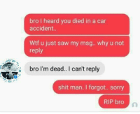 Memes, Saw, and Shit: bro I heard you died in a car  accident..  Wtf u just saw my msg. . why u not  reply  bro I'm dead. I can't reply  shit man. I forgot.. sorry  RIP bro ohhh 🤔 😮