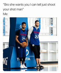 "Anaconda, Basketball, and Nba: ""Bro she wants you l can tell just shoot  your shot man""  52122  100  20  @NBAMEMES Error 😂 (Via ‪No9KeepltTucked‬-Twitter)"