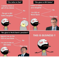 Bill Gates, Memes, and 🤖: *Bro talks to Dad*  I wanna marry a  girl of my choice  The girl is Bill  Gates daughter  okay  *Bro goes to World Bank's president  Appoint me as the  CEO of your Bank  I'm son-in-law of  Bill Gates  The  *Bro goes to Bill Gates*  want to marry  your daughter  I'm CEO of  World Bank  Then okay  THIS IS BUSINESS 😂😁😂