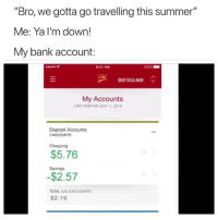 """Summer, Bank, and Dank Memes: """"Bro, we gotta go travelling this summer""""  Me: Ya I'm down!  My bank account:  令  9:41 AM  00%  OBETASALMON  My Accounts  LAST SIGN ON: MAY 1,2018  Deposit Accounts  2ACCOUNTS  Chequing  $5.76  Savings  $2.57  TOTAL CAD S ACCOUNTS  $2.19 🤔 @betasalmon"""