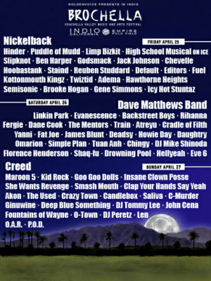 Akon, Coachella, and Crazy: BROCHELLA  COACHELLA VALLEY MUSIC AND ART FESTIVAL  INDIO EMPRE  Nickelback  Hinder. Puddle of Mudd Limp Bizkit High School Musical oN IGE  Slipknot Ben Harper Godsmack Jack Johnson- Chevelle  Hoobastank Staind Reuben Studdard Default Editors Fuel  Kottonmouth Kingz Twiztid Adema Hawthorne Heights  Semisonic Brooke Hogan Gene Simmons Icy Hot Stuntaz  FRIDAY APRIL 25  Dave Matthews Band  Linkin Park Evanescence Backstreet Boys Rihanna  Fergie Dane Cook The Mentors Train Atreyu Cradle of Filth  SATURDAY APRIL 26  Yanni Fat loe James Blunt- Deadsy. Howie Day Daughtry  Omarion Simple Plan Tuan Anh Chingy DJ Mike Shinoda  Florence Henderson . Shag-fu Drowning Pool Hellyeah Eve 6  Creet  Maroon 5. Kid Rock Goo Goo Dolls Insane Clown Posse  She Wants Revenge Smash Mouth Clap Your Hands Say Yeah  Akon The Used Crazy Town. Candlebox Saliva. C-Murder  Ginuwine Deep Blue Something DJ Tommy Lee John Cena  Fountains of Wayne O-Town. DJ Peretz Len  O.A.R. PO.D.  SUNDAY APRIL 27 It seems as though fake coachella lineup memes are on the rise again ...