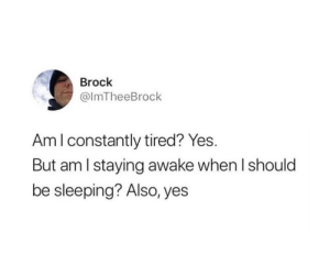 Brock: Brock  @ImTheeBrock  Am I constantly tired? Yes.  But am I staying awake when I should  be sleeping? Also, yes