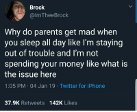 Iphone, Money, and Parents: Brock  @lmTheeBrock  Why do parents get mad when  you sleep all day like lI'm staying  out of trouble and I'm not  spending your money like what is  the issue here  1:05 PM 04 Jan 19 Twitter for iPhone  37.9K Retweets  142K Likes Whats the issue here