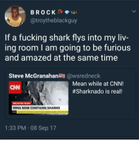Blackpeopletwitter, cnn.com, and Fucking: BROCK  @troytheblackguy  NAUTICA  If a fucking shark flys into my liv  ing room l am going to be furious  and amazed at the same time  Steve McGranahan@wsredneck  Mean while at CNN!  #Sharknado is real!  oLu  com  CNN  BREAKING NEWS  IRMA NOW CONTAINS SHARKS  21:48  NEW REPORTS FROM NOAA AIRCRAFT SHOW SHARKS HAVE BEEN LIFTED INTO HURR  1:33 PM 08 Sep 17 <p>They've turned it into a reality show (via /r/BlackPeopleTwitter)</p>