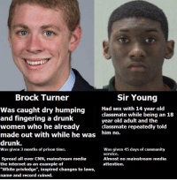 "Community, Dank, and Drunk: Brock Turner  Sir Young  was caught dry humping  Had sex with 14 year old  classmate while being an 18  and fingering a drunk  year old adult and the  women who he already  classmate repeatedly told  made out with while he was  him no.  drunk.  was given 45 days of community  as given 3 months of prison time.  service.  Spread all over CNN, mainstream media  Almost no mainstream media  the internet as an example of  attention.  ""White privledge"", inspired changes to laws,  name and record ruined. Yeah thats a real compelling argument for the white privilege narrative liberals keep going on about."