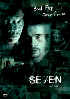 Despite popular belief, the movie Sesevenen is actually pronounced Seven. This is due to the fact that the movie is about the seven deadly sins, and not the sesevenen deadly ones.: Brod Pitt  Freeman  Morgan  inners  SE ZEN  David Fincher  A FLM BY  DVD  VIDEO/ROM Despite popular belief, the movie Sesevenen is actually pronounced Seven. This is due to the fact that the movie is about the seven deadly sins, and not the sesevenen deadly ones.
