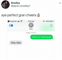 g that's not what I mean but OK sure 😂: Brodley  @aaron_brodley7  aye perfect gran cheers  Snapchat .S  5:27 pm  100%(  ),チ  Gran  Today 5:25 pm  what's ur email grarn  Okay doky g that's not what I mean but OK sure 😂