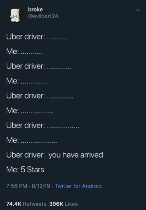 meirl by Go_To_Bethel_And_Sin MORE MEMES: broke  @evilbart24  Uber driver:  Me:.  Uber driver:  Me:...  Uber driver:  Me:...  Uber driver:  Me:  Uber driver: you have arrived  Me: 5 Stars  7:56 PM 8/12/19 Twitter for Android  74.4K Retweets 396K Likes meirl by Go_To_Bethel_And_Sin MORE MEMES