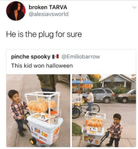 Halloween, Memes, and Spooky: broken TARVA  @alesiavsworld  He is the plug for sure  pinche spooky 테 @Emil.obarrow  This kid won halloween Legendary