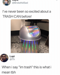 """Memes, Tbh, and Trash: @BrokeNdSad  I've never been so excited about a  TRASH CAN before!  Lupi  @Th  When i say """"im trash"""" this is what i  mean tbh 😂WTH"""