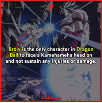 Broly, Head, and Memes: Broly is the only character in  Dragon  Ball  to face a Kamehameha head on  and not sustain any injuries or damage.  ABA nilu Le Beast!  Like 8Anime for more posts (Y)