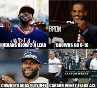 "Dallas Cowboys, Memes, and Dallas: BRON  INDIANS BLOW 2-0 LEADBROWNS GO 0-16  DALLAS  UNNIESTNFLMEMES  : A ""MY FAVORITE PLAYER RIGHT NOW  32  CARSON WENTZ  -LEBRON  COWBOYS MISS  PLAYOFFS  CARSON WENTZ TEARS ACL https://t.co/8d8guIRhBk"