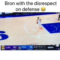 Basketball, Nba, and Sports: Bron with the disrespect  on defense  LAL 67  PHI 76 2nd 31.5 24 ESFm  TO:5  BONUS TO:5  BONUS SUNDAY SHOWCASE Did Simmons wrong 🤦‍♂️😂 (Via ‪TJDhoops‬-Twitter)