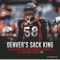 Von Miller cements his legacy as an all-time Broncos great with the franchise's sack record 💪 https://t.co/zI5Hh21nQz: BRONCOS  DENVER'S SACK KING  VON MILLER BECOMES DENVER BRONCOS FRANCHISE'S  ALL-TIME LEADER IN SACKS 98 Von Miller cements his legacy as an all-time Broncos great with the franchise's sack record 💪 https://t.co/zI5Hh21nQz