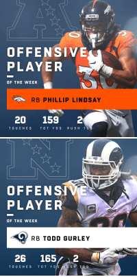 Memes, Broncos, and Todd Gurley: BRONCOS  OFFENSIVE  PLAYER  OF THE WEEK  RB PHILLIP LINDSAY  20 159 2  TOUC HES TO T YDS RU SH T   OFFENSIVE  PLAYER  ams  OF THE WEEK  RB TODD GURLEY  26 1652  D S Offensive Players of the Week (Week 13):   AFC: @Broncos RB @I_CU_boy  NFC: @RamsNFL RB @TG3II https://t.co/roe73zs1cY