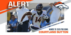 .@Broncos WR Courtland Sutton named to the 2020 #ProBowl, replacing Texans WR DeAndre Hopkins. https://t.co/nDlDErYpn1: .@Broncos WR Courtland Sutton named to the 2020 #ProBowl, replacing Texans WR DeAndre Hopkins. https://t.co/nDlDErYpn1