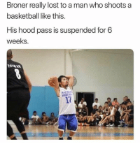 Basketball, Lost, and Hood: Broner really lost to a man who shoots a  basketball like this.  His hood pass is suspended for 6  weeks.  17 6 weeks..😂 #AdrienBroner
