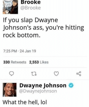 srsfunny:whom hit rok bottum: Brooke  @Brooke  If you slap Dwayne  Johnson's ass, you're hitting  rock bottom  7:25 PM 24 Jan 19  330 Retweets 2,553 Likes  Dwayne Johnson o  @DwayneJohnson  What the hell, lol srsfunny:whom hit rok bottum