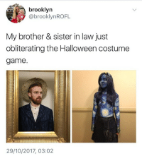 Halloween, Memes, and Brooklyn: brooklyn  @brooklynROFL  My brother & sister in law just  obliterating the Halloween costume  game  29/10/2017, 03:02 😂Damn, Annabelle is that you.