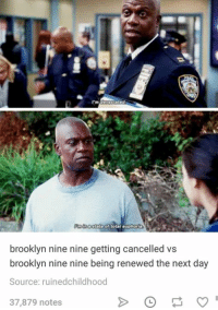 Brooklyn, Humans of Tumblr, and Brooklyn Nine Nine: brooklyn nine nine getting cancelled vs  brooklyn nine nine being renewed the next day  Source: ruinedchildhood  37,879 notes