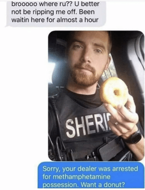 Would prefer chocolate over plain.: brooooo where ru?? U better  not be ripping me off. Been  waitin here for almost a hour  SHERI  Sorry, your dealer was arrested  for methamphetamine  possession. Want a donut? Would prefer chocolate over plain.